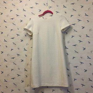 Calvin Klein White Sheath Dress, Chevron Stitches